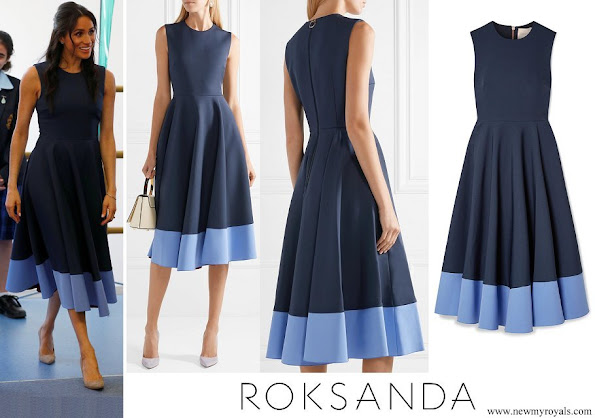 Meghan Markle wore Roksanda Athena pleated two-tone crepe midi dress