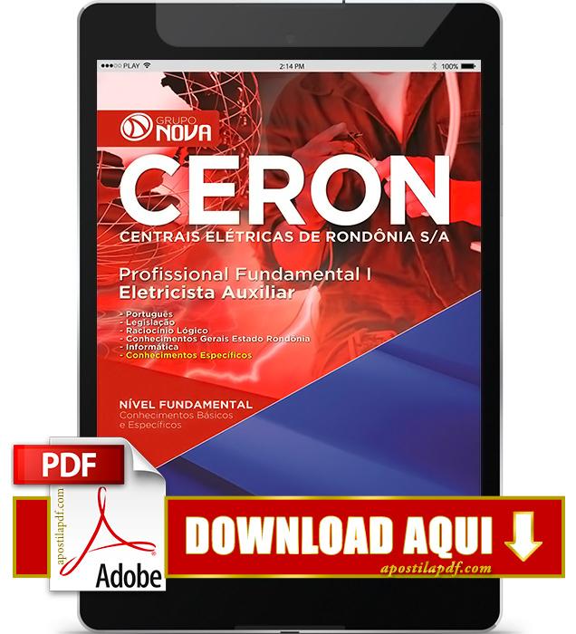 Apostila CERON RO 2016 Eletricista Auxiliar PDF Download