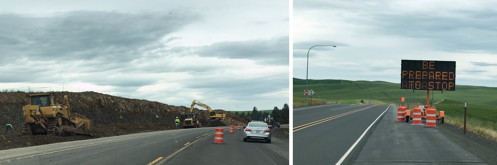 left crews work to build a passing lane along us 195 between spokane and pullman