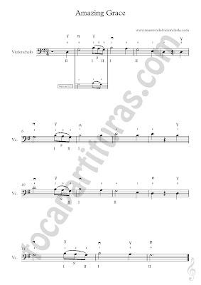 4 Partitura de Amazing Grace para Violonchelo en Sol Mayor (más partituras de Gracia Divina aquí) & Vídeo tutorial Como tocar Amazing Grace en Violonchelo