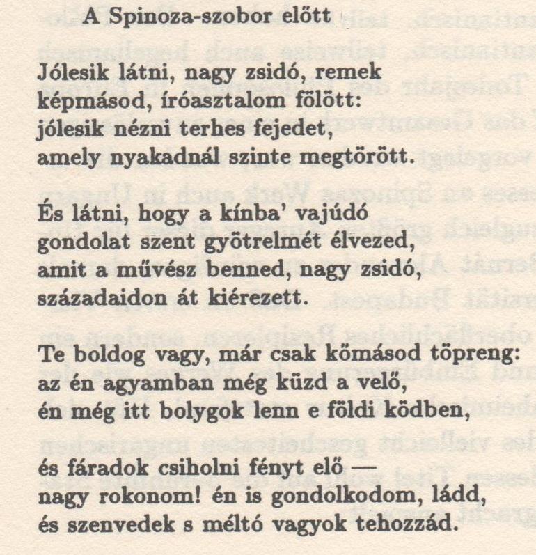 Mihály Babits 1883 1941 Schreef Gedicht Over Spinoza