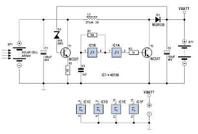 Solar Cell Array Charger with Regulator Circuit Diagram