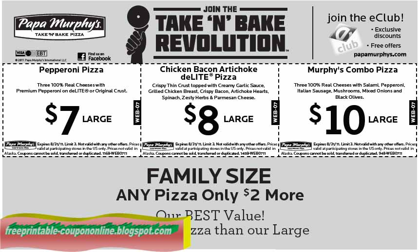 graphic regarding Papa Murphy Coupon Printable called Papa murphy discount coupons 2018 - On the web Low cost