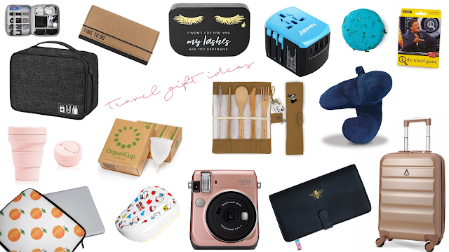 a collage of travel gift ideas such as a suitcase, camera, hairbrush and more