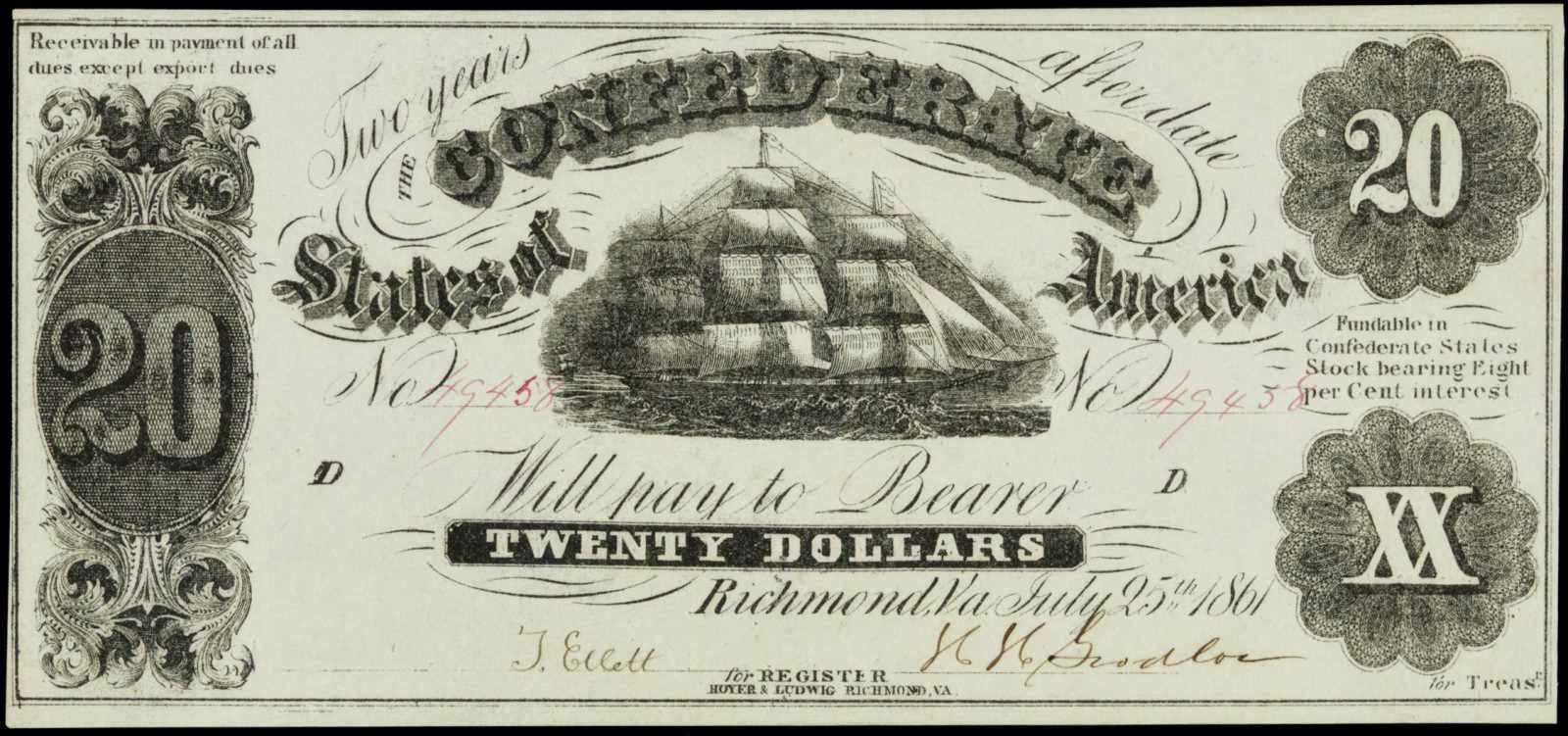 Confederate Currency 1861 20 Dollar Bill Sailing Ship T-9