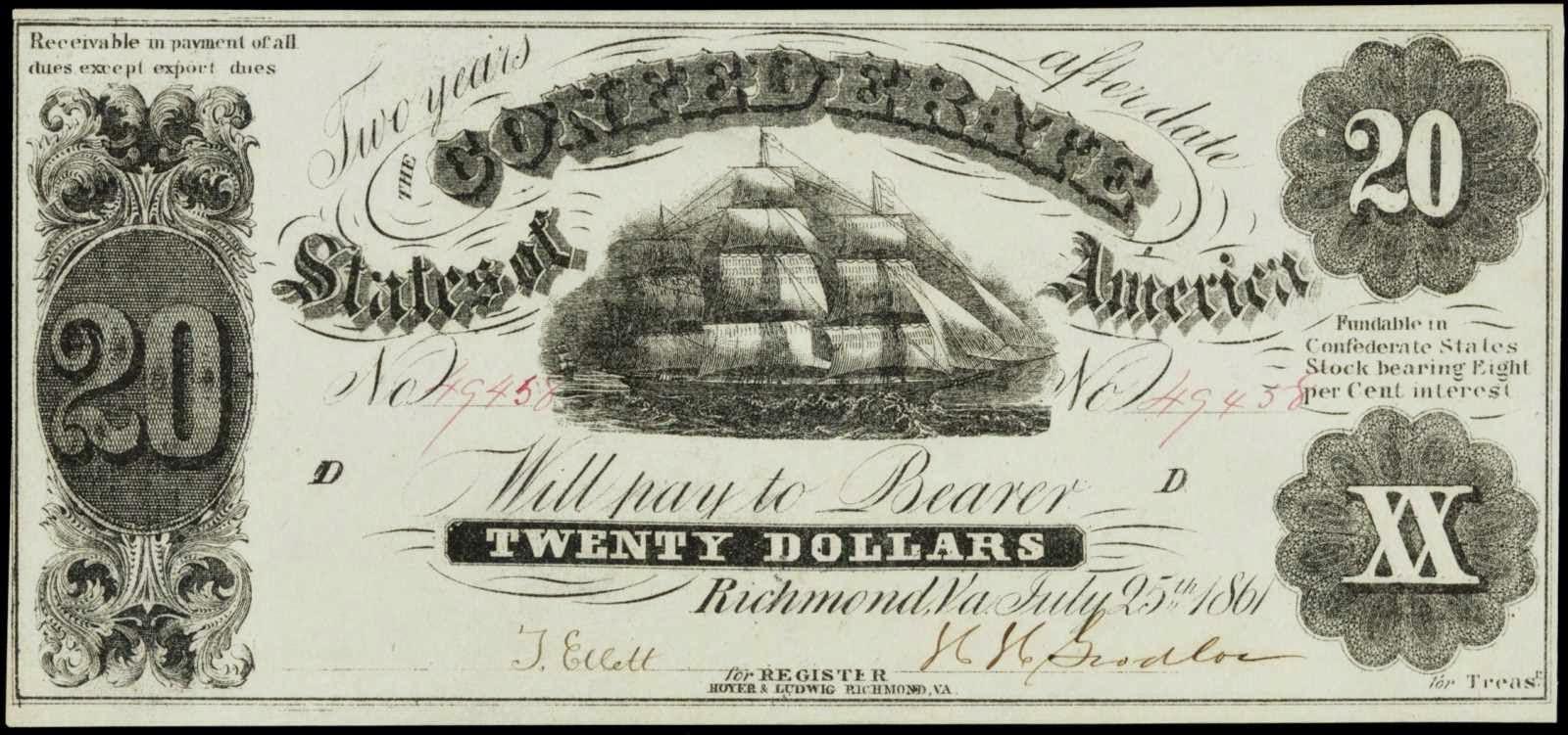 Confederate Currency 1861 20 Dollar Bill Sailing Ship