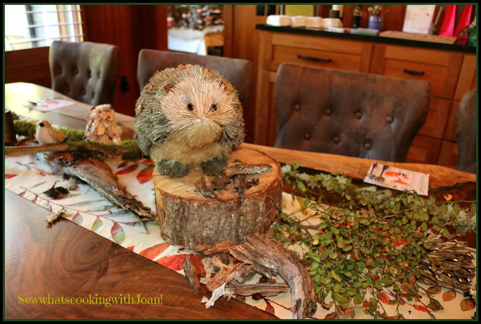Bottle brush woodland animals - The Table Was Easily Decorated With Branches Bark Moss Bottle Brush Animals A Fall Table Runner I Have Had For Years And Log Rounds