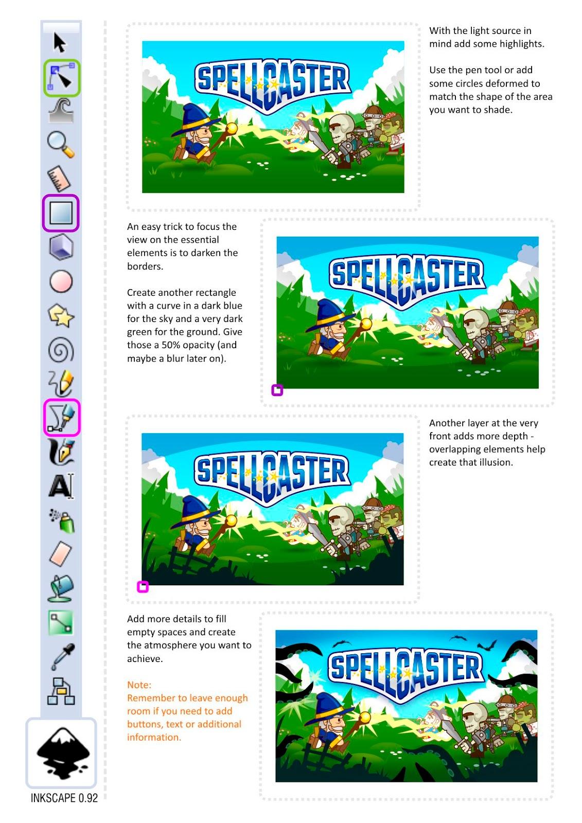 2dgameartguru.com / creating a title screen in inkscape
