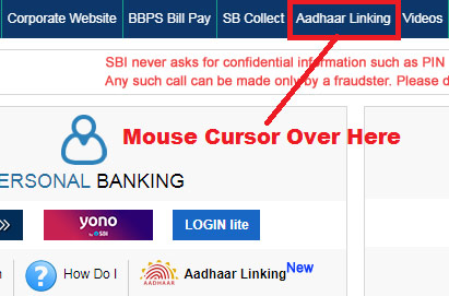 how to link aadhaar card to sbi account through online