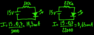 calculando a corrente no LED para o resistor de 1kohms e de 22kohms