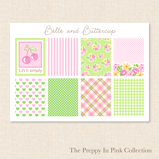 Preppy pink and green stickers and surface pattern designs