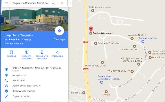 https://www.google.es/maps/place/Carpinteria+Cerqueiro/@43.2426577,-8.3532648,17z/data=!4m5!3m4!1s0xd2e6688f6ec7f75:0x1816ca5cb9138465!8m2!3d43.2439108!4d-8.3559935?hl=es