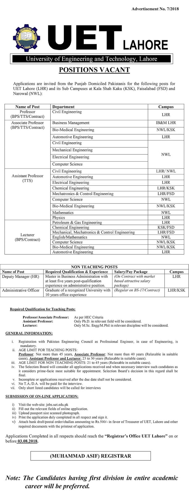 UET Lahore Jobs University Of Engineering And Technology July 2018