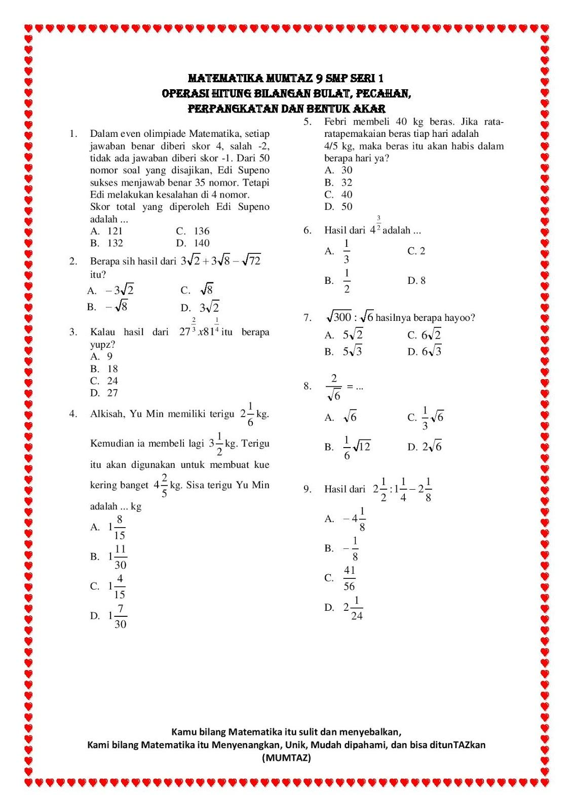 Contoh Soal Bilangan Bulat Dan Pecahan Kelas 7 Nada Blog