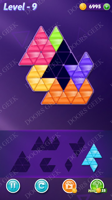 Block! Triangle Puzzle Intermediate Level 9 Solution, Cheats, Walkthrough for Android, iPhone, iPad and iPod