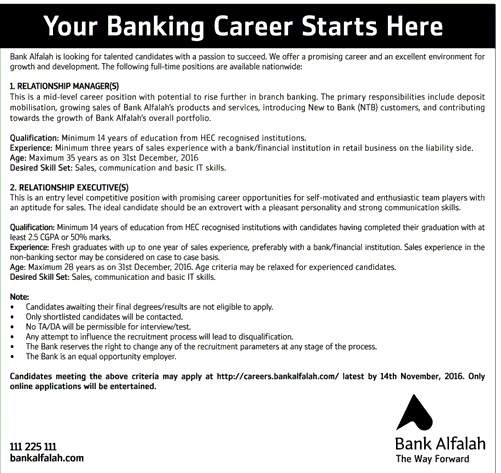Bank Alafalah Latest Jobs in Pakistan