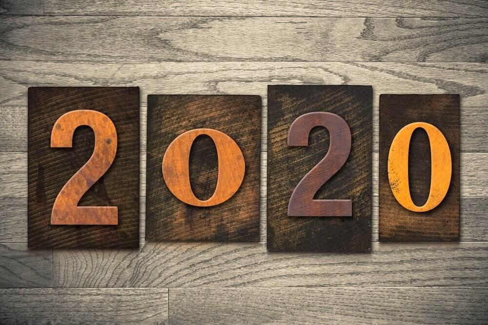2020, Happy New Year, Wallpaper 2020, Wooden