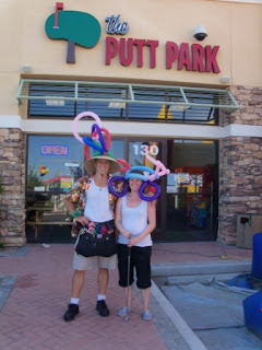 Mini Golf at The Putt Park in Las Vegas - Emily and the Balloon Guy and the Bicycle Hat at The Putt Park
