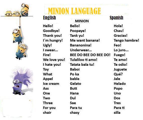 Minions Language I Love You