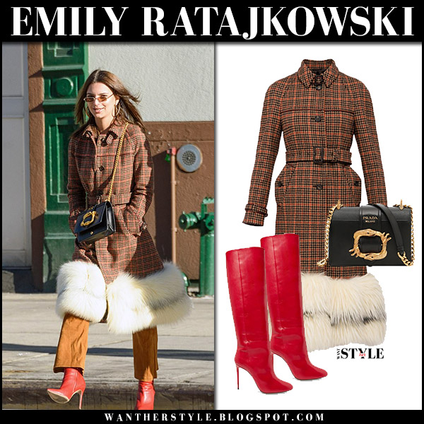 Emily Ratajkowski in brown tweed check fur lined prada coat and red boots aquazzura brera model winter fashion january 2