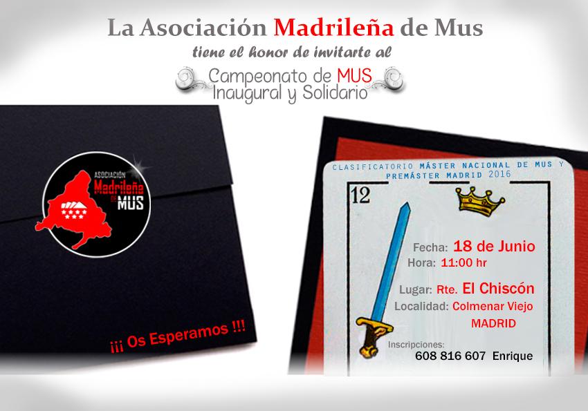 Asociación Madrileña de Mus, campeonato mus inaugural 2016