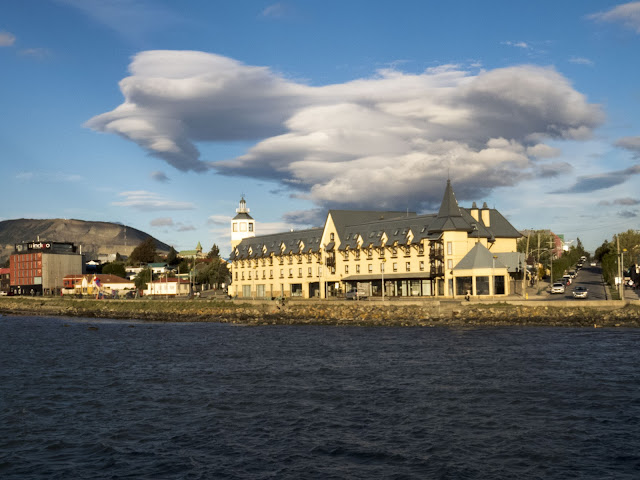Swirling clouds over Hotel Costaustralis in Puerto Natales Chile