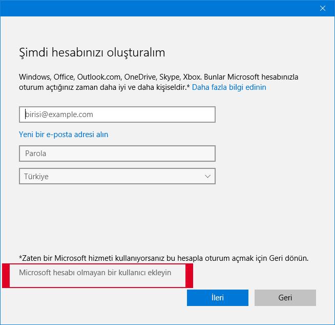 Microsoft hesabı olmayan kullanıcı