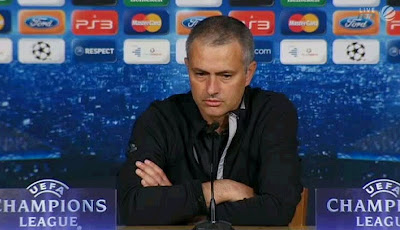Mourinho attending the press conference after lost against Bayern Munchen