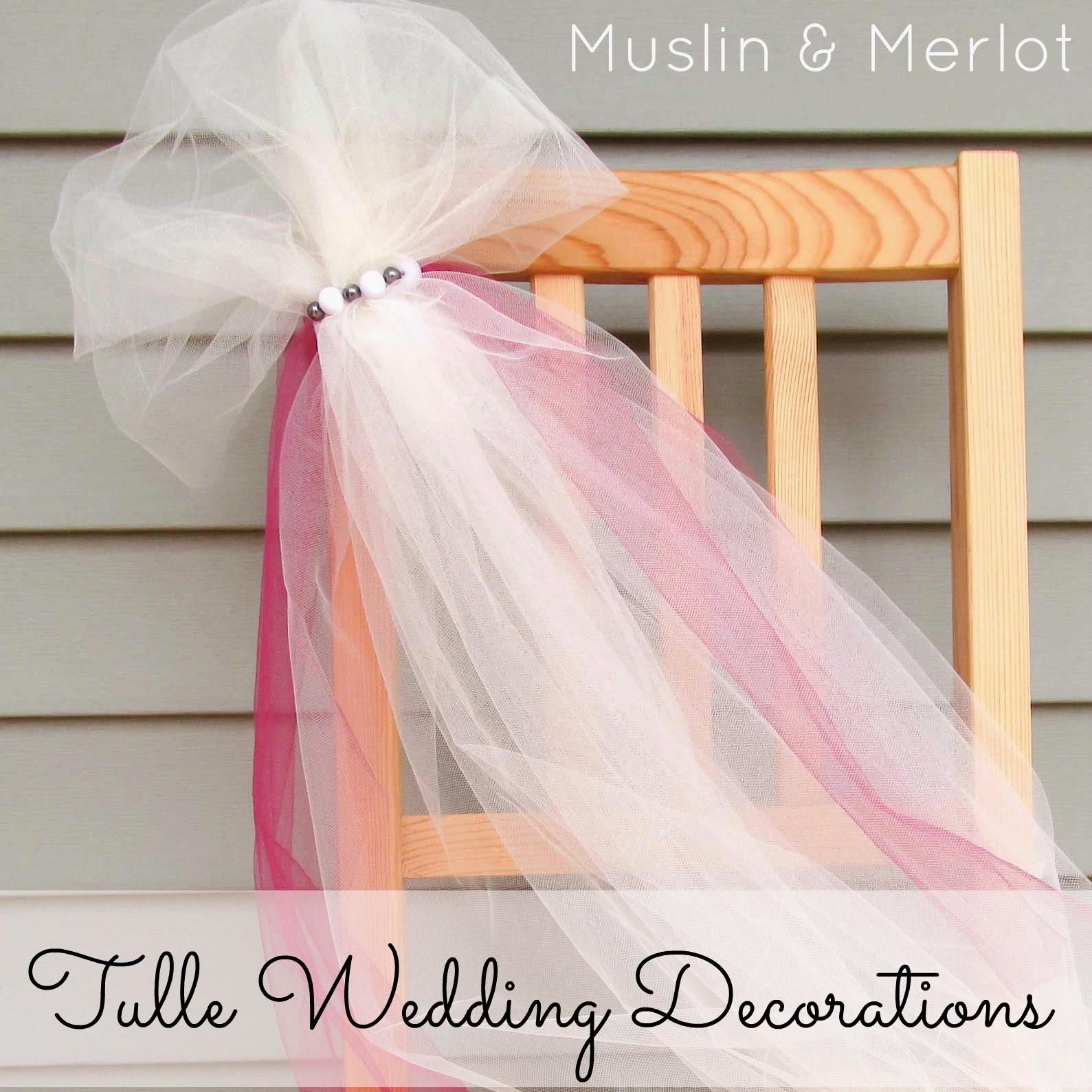 Easy & Pretty Tulle Wedding Decor {Chair Backs, Stair