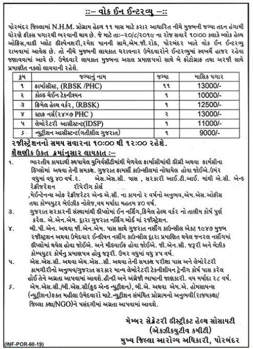 National Health Mission, Porbandar Recruitment for Various Posts 2019