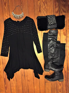 studded black sharkbite dress outfit of the day