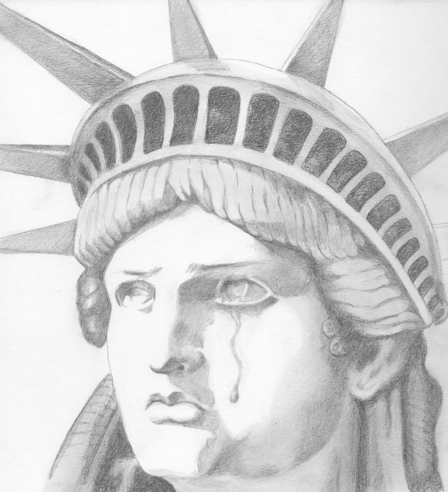 Carmen beecher statue of liberty mother of exiles 9x9 pencil