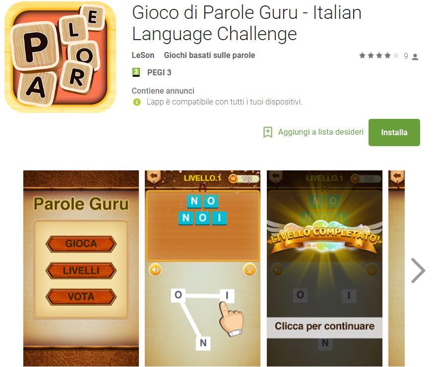 Soluzioni Gioco di Parole Guru (Italian Language Challenge) | Screenshot Livelli con Risposte