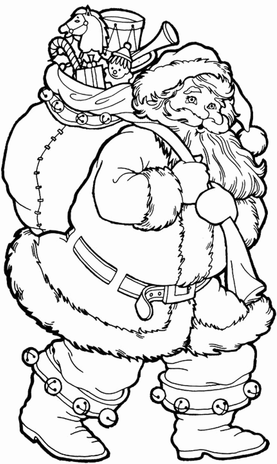 christmas santa claus coloring pages free printable - 736×1229