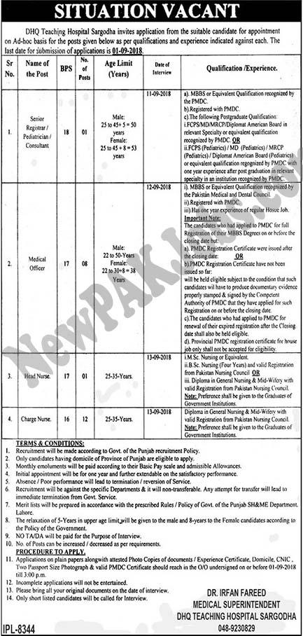 Sargodha Latest Jobs 15 August 2018