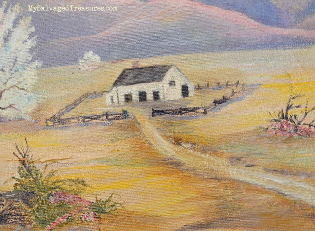 home in desert oil painting vintage