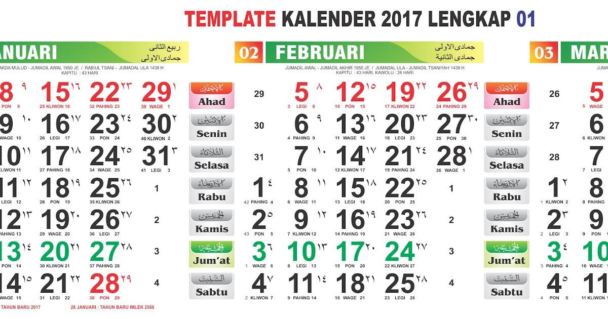 Template Kalender Lengkap Jawa & Hijriyah: Template KALENDER 2017 ...