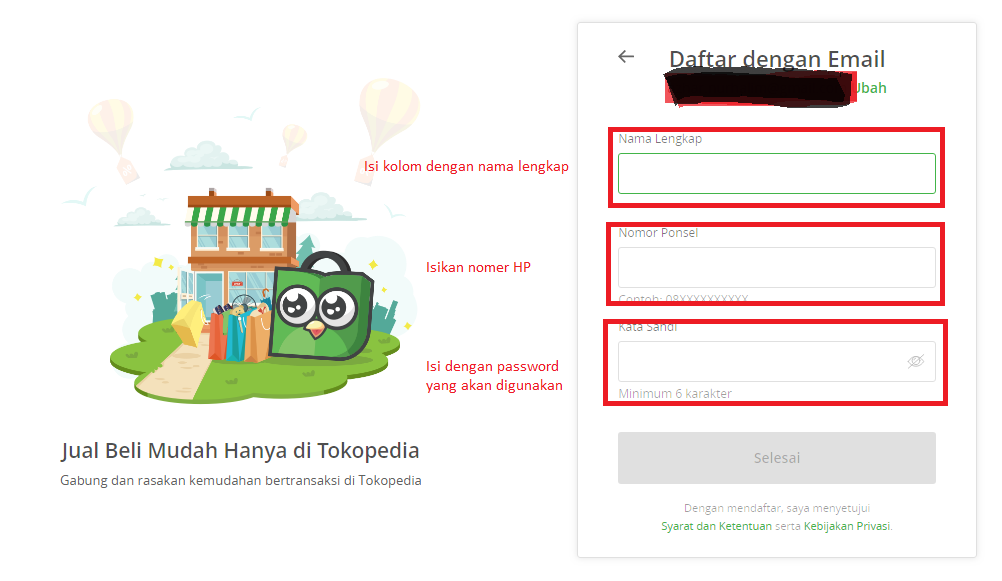 Cara mendaftar di Tokopedia