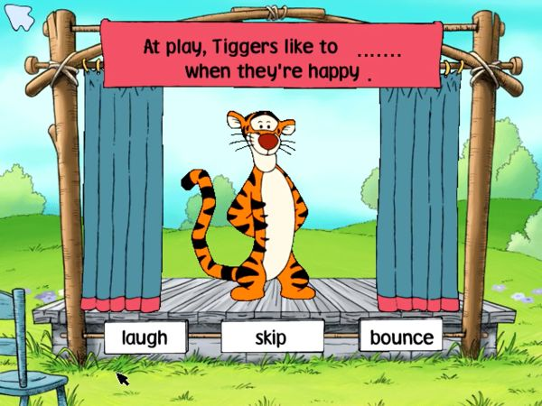 Action Theater with Tigger learn to complete a phrase by choosing the right word