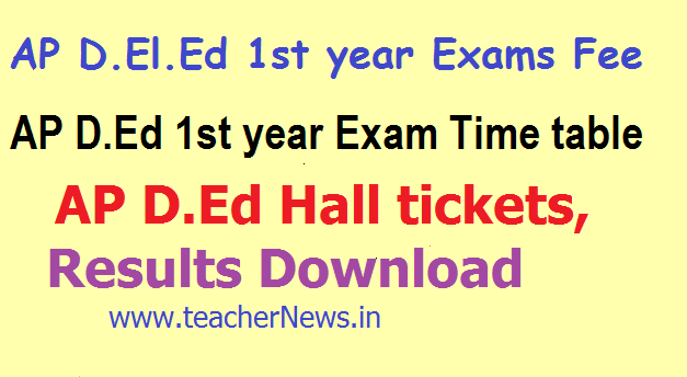 AP D.Ed 1st year Hall Tickets Exam Dates/ Time table 2019