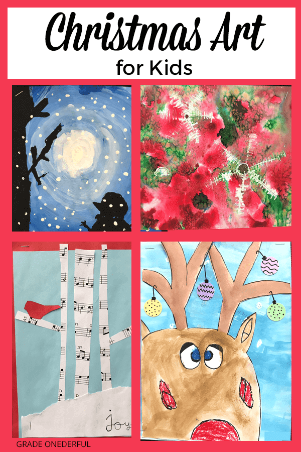 Christmas Art for Kids. Need some inspiration? I have lots of beautiful art ideas for kids, including the sweetest Christmas card. #gradeonederful  #christmas #christmasart #christmasartforkids