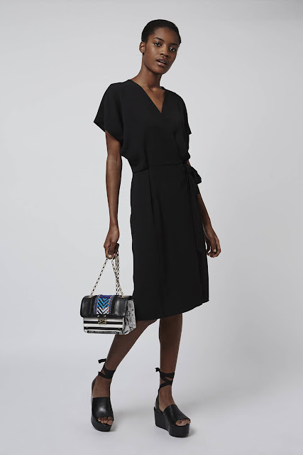 topshop black wrap dress, black wrap midi dress,