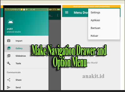 membuat navigation drawer dan option menu di android dengan manggunakan android studio dan eclipse
