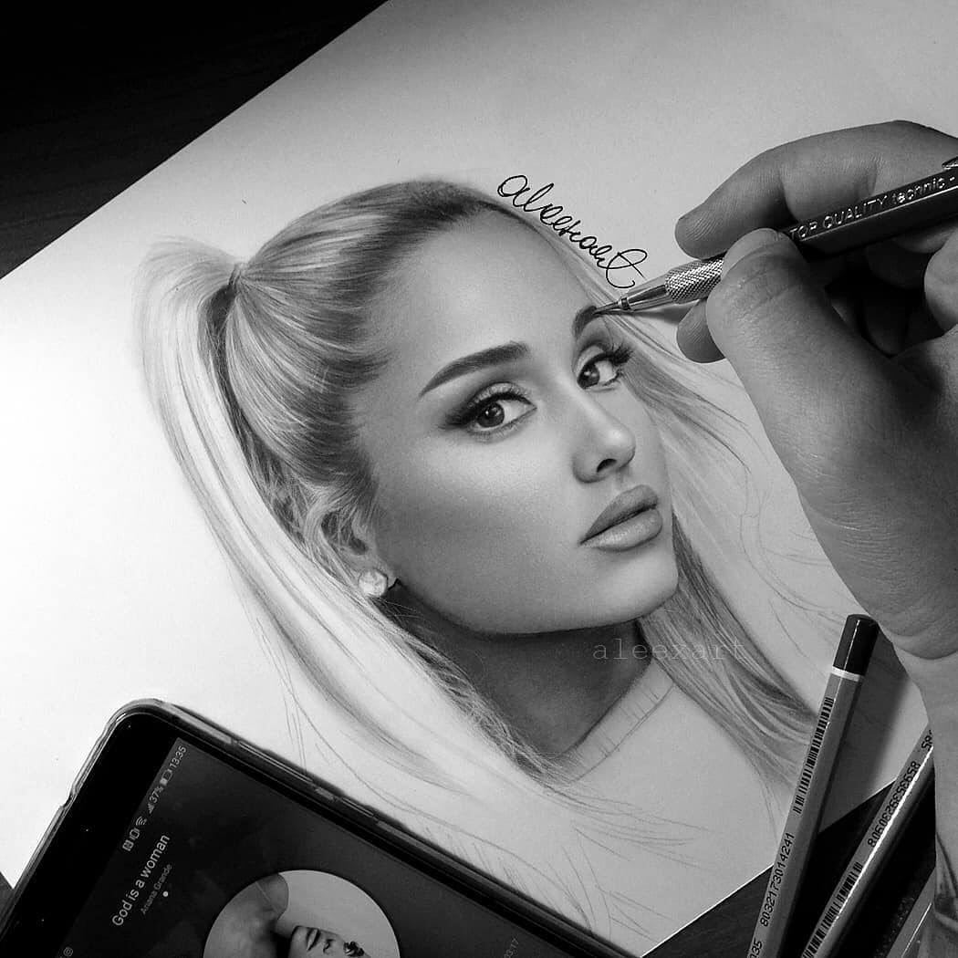 01-Ariana-Grande-Alex-Manole-Celebrities-Drawn-in-Realistic-Portraits-www-designstack-co
