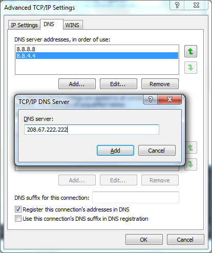 Add some DNS TCP/IP DNS server in the Advanced TCP/IP Settings.