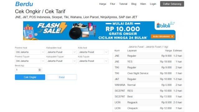 Cek ongkir pengiriman barang se-indonesia