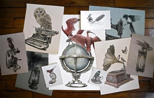 00-Steeven-Salvat-Ink-Drawings-Birds-on-Vintage-Objects-and-Machines-www-designstack-co