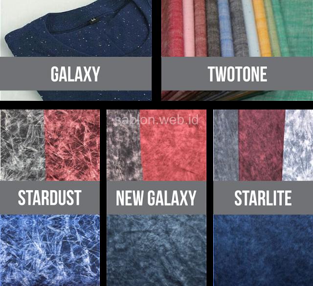 Bahan Kaos Starlite, Bahan Kaos Stardust, Galaxy, Bahan Kaos Nap White / Rainbow & Bahan Kaos Two Tone