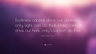 Darkness cannot drive out darkness; only light can do that. ~MLK Jr.