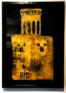 Hossein Maher - louver tower - oil painting on cardboard